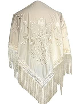 La Señorita Mantones bordados Flamenco Manton de Manila blanco con Flores Large