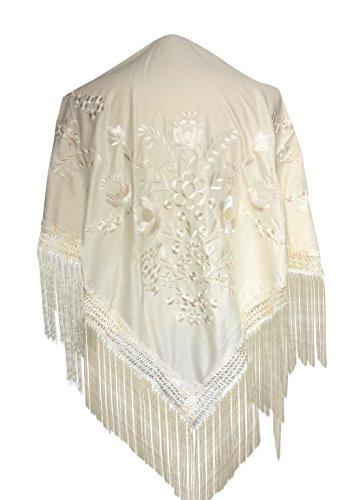 La Señorita Mantones bordados Flamenco Manton de Manila blanco Medium