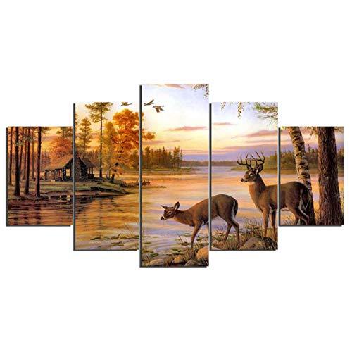 Leinwand-reproduktion, Leinwanddruck (KKXXWLH Wand Leinwand Kunstdruck Malerei Poster Wandbild Für Heimtextilien Malerei Kinderzimmer 5 Panel Tier Deer Landschaft)