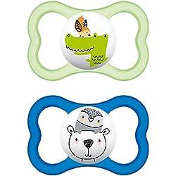MAM 66218811, Pack de 2 chupetes de silicona de aire, niños entre 6-16 meses, modelos surtidos