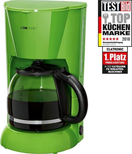 Clatronic KA 3473 Cafetière Filtre pour 12–14 tasses, sécurité Nuit ropf Plaque de maintien au chaud, arrêt automatique, indicateur du niveau d'eau, vert