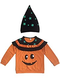 Tkria Niños Boys Manga Larga Impresión Otoño Invierno Camisas Shirt con Sombrero Naranja Calabaza Ropa de Halloween