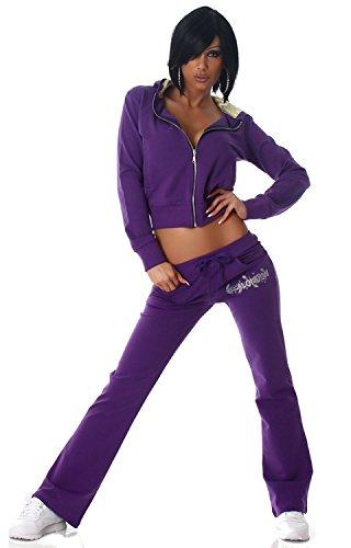 Jela London Damen Jogginganzug Jacke & Hose mit Kapuze, lila Größe 32 34 Kapuze Jacke Hose
