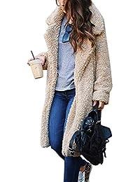 Minetom Invernale Cappotto Lungo Donna Parka di Peluche Tinta Unita Caldo  Giacca Lunga con Revers Moda e968c6923be