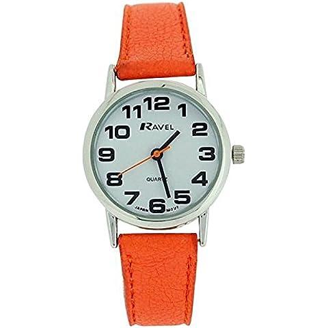 Las damas - enmarañamiento de mujer con esfera de color blanco y de color naranja y hebilla de la PU reloj r0105., 13 18L