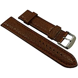 24mm Calf leather watch strap band in brown with buckle in silver