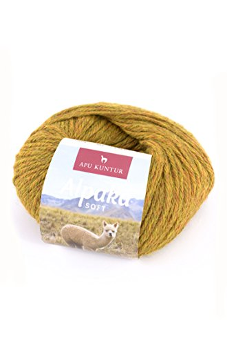 APU KUNTUR 100% Alpaka Wolle | Strick-Häkel-Garn weich, warm und kratzfrei | einzelnes Knäuel | 100m, Nadel 4,5 | wunderschöne Farben zum angenehmen Stricken und häkeln | senf-gelb -