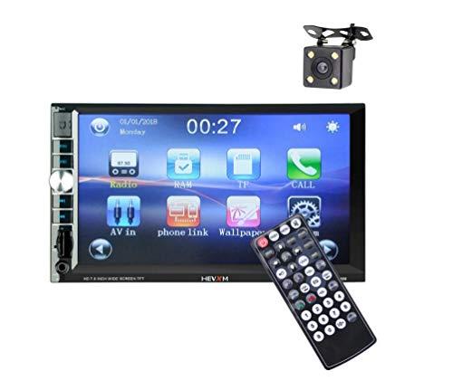 LWTOP Stéréo de Voiture Double DIN, 7 Pouces écran Tactile dans Dash Voiture récepteur Radio Audio Lecteur vidéo Prend en Charge Bluetooth/TF/USB/AUX/avec caméra de recul,HE666withCamera
