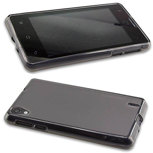 caseroxx Hülle/Tasche TPU-Hülle schwarz-transparent + Displayschutzfolie für Medion Life E4005 MD 99253, Set bestehend aus TPU-Hülle und Displayschutzfolie