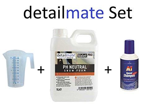 Preisvergleich Produktbild Set ValetPRO ph Neutral Snow foam 1 Liter + 250ml Messbecher detailmate + A1 Speed Shampoo Dr. Wack 500 ml Autoshampoo für Autowäsche