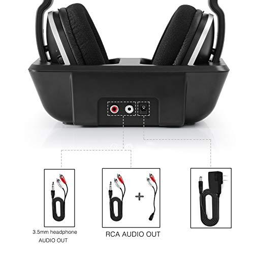 Digitales Funkkopfhörer 2.4GHz Übertragungsfrequenz Over Ear Kabellose Kopfhörer mit Ladestation Lautstärkeregler Geräuschunterdrückung Stereo Kopfhörer für Fernseher, HiFi, CD, DVD Spieler - 7