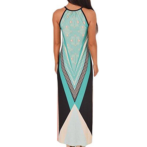 D9Q Frauen Sommer elegantes Sleeveless reizvolle dünne Drucken langer Abend Partei Kleid Mehrfarbig