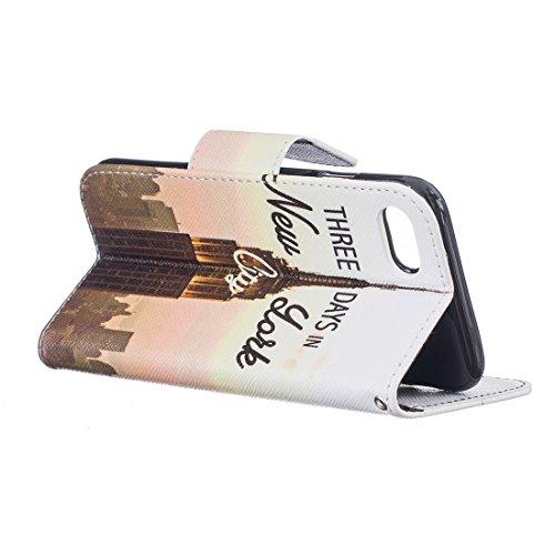 Nancen Apple iphone 7 (4,7 Zoll) Premium Leder Flip Handyhülle / Wallet Case, Blumen Landschaften Tiere und Bunt Printed Muster - Bookstyle Cover Schutzhülle mit Standfunktion, Brieftasche und Karte T New york city