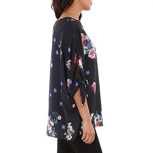 La Modeuse - Tunique manches chauve-souris fluide àimprimé floral Noir
