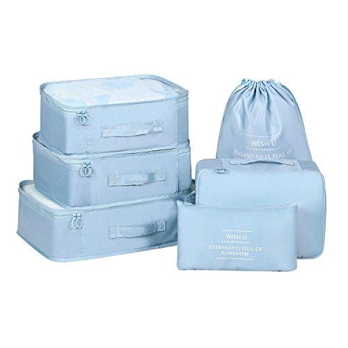 2018 Verpackung Cubes Gepäckorganisatoren TravelClothing Wäschesack Kulturbeutel und Elektronik Zubehör Beutel 6-Set (Light Blue-6 PCS)