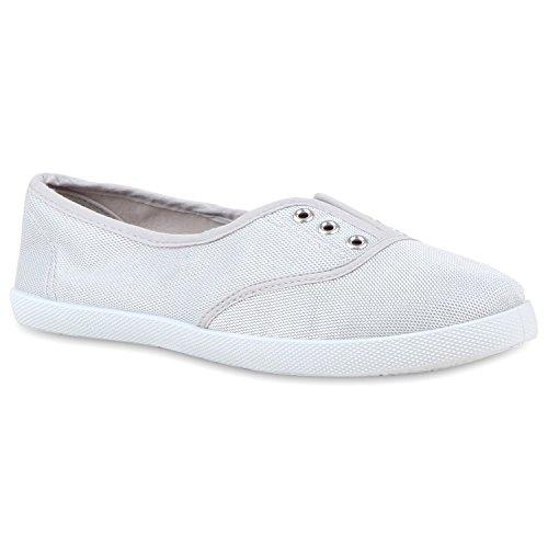 Bequeme Damen Slipper Sportschuhe Slip-Ons Helle Profilsohle Light Grey