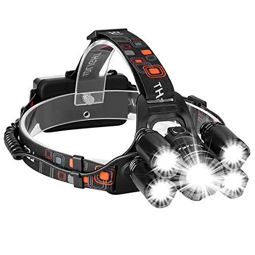 Zmsdt Super Helle 8000 Lumen Wiederaufladbare Scheinwerfer 4 Modi Wasserdichte Scheinwerfer Sind Ideal Zum Laufen, Wandern, Camping, Lesen LED Kopf Taschenlampen