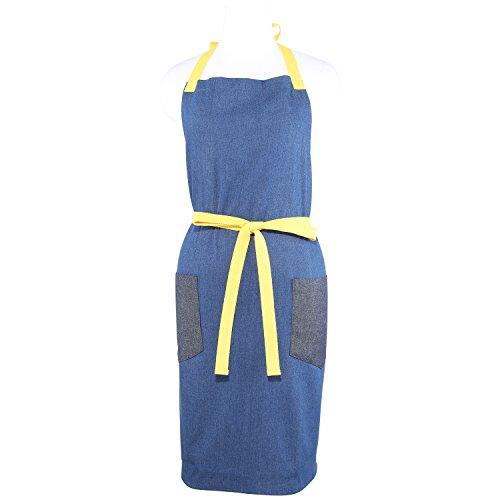 neoviva Weiche Baumwolle Denim Stilvolle Küche Schürze mit Taschen für Erwachsene und Kinder, Stil Sunny, Denim, Solid Indigo Blue, Für Erwachsene -
