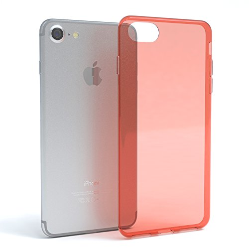 "EAZY CASE Handyhülle für Apple iPhone 8, iPhone 7 Hülle - Premium Handy Schutzhülle Slimcover ""Clear"" - Transparentes Silikon Backcover in in Klar / Durchsichtig Orange"