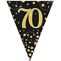 fashioncrazexx 70th Birthday Party Sparkling Bunting Black Gold 12FT 3.9m Fizz Flag Banner Age