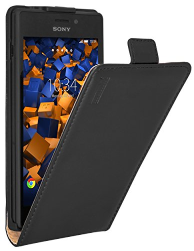 mumbi PREMIUM Leder Flip Case für Sony Xperia M2 / M2 Aqua Tasche (Sony Xperia M2 Aqua)