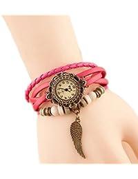 Hosaire Bonita Vida tejido circundando de pulsera de cuero para senora mujer reloj de pulsera Rosado