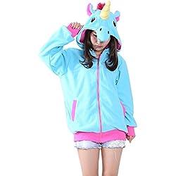 KiKa Monkey Cosplay Unicorn Animal Chaqueta con capucha Jacket traje de fiesta del suéter (XL, Azul)