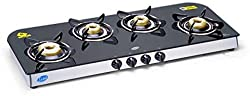 GLEN 1049 GT Forged Brass Burner Auto Ignition Glass Gas Stove
