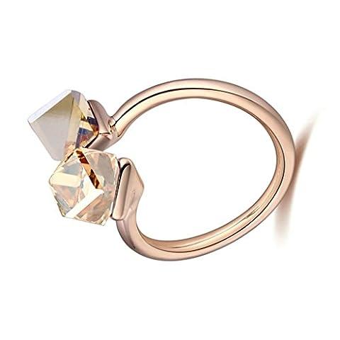 Gnzoe Schmuck Damen Ringe Edelstahl Damenringe Quadrat Cube mit Zirkonia Gold Trauringe Vertrauensring Band Gr.54 (17.2)