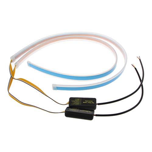 Runrain Luces de circulación Diurna Impermeables LED para Faros Delanteros de Coche, ultrafinas, Flexibles, señal de Giro DRL 60 cm