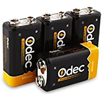 Odec Pilas Recargables Li-ion 9V 600mAh, Rendimiento más Alto de Batería, Paquete