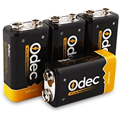Odec 9V Batteria Li-ion Ricaricabili 600mAh, Pile agli Ioni di