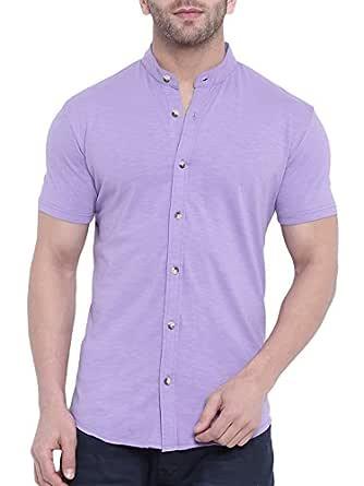 GRITSTONES Purple Half Sleeves Shirt GSHSSHT1643PPL_M