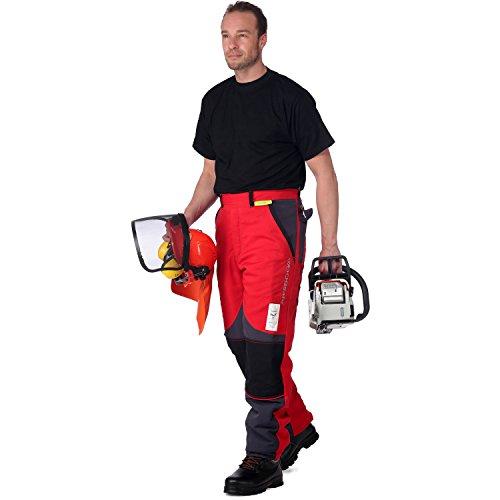 WOODSafe Schnittschutzhose Klasse 2, Forsthose, kwf-Geprüft, Bundhose Rot/Grau, Herren - Waldarbeiterhose mit Schnittschutz Form A, Leichtes Gewicht (48)