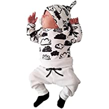 ropa bebe nino recien nacido otoño Switchali Impresión de la nube blusa bebe niña manga larga Camisetas Bebé Conjuntos moda camisa + Pantalones + Sombrero (3 piezas)