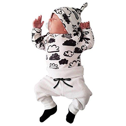 ropa bebe nino recien nacido otoño Switchali Impresión de la nube blusa bebe niña manga larga Camisetas Bebé Conjuntos moda camisa + Pantalones + Sombrero (3 piezas) (70 (0~3meses), Blanco)