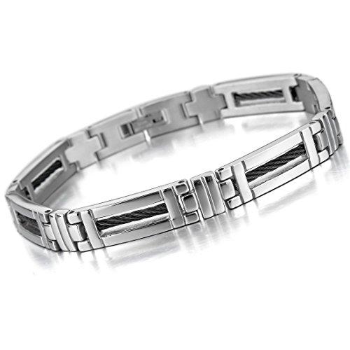 Inblue Herren Edelstahl Armband Link Handgelenk Silber Ton Schwarz Kreuz ()