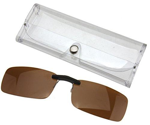 Rahmenlose, polarisierte Sonnenbrille mit austauschbaren Gläsern, UV400, dunkelbraun
