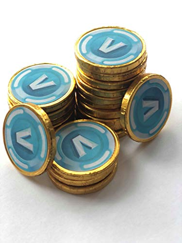 40 Fortnite Inspired V Bucks Chocolate Coins Loose. Coins are 4cm with V Bucks on Both Sides. Ideal for Kids Party Bags Stocking Fillers Kids Game