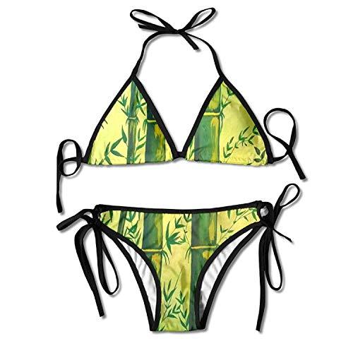 Green Bamboo Panda Food Bikini Women's Summer Swimwear Triangle Top Bikinis Swimsuit Sexy 2-Piece Set -