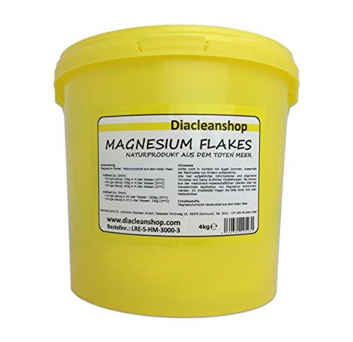 Magnesium Flakes aus dem Toten Meer 4kg – Magnesiumkristalle aus Magnesiumchlorid – 100% Naturprodukt - für Magnesiumöl, Magnesium Spray, Magnesium Fußbad, Magnesium Vollbad uvm