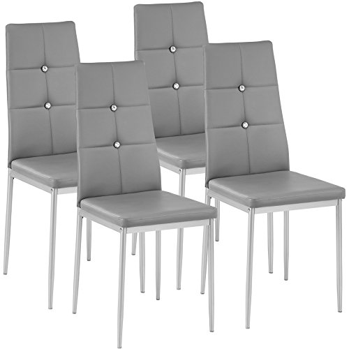 TecTake Set of 4 Dining Chairs 40x42x97cm | - different colours and quantities - (4x grey | no. 402546)