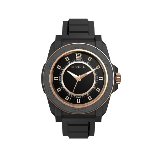 Breil Unisex Quartz Watch with Beige Dial Analogue Display and Black PU Bracelet TW0833