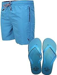 Sth Shore Men's Clarion Swim Shorts with Flip Flops Sizes S-XXL