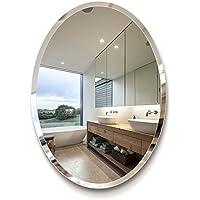 Mirror Espejo de baño - espejo ovalado de baño de estilo europeo/espejo de pared de tocador de baño/espejo de maquillaje simple/lado oblicuo de espejo de alta definición de 5 mm (Tamaño : 60*80cm)