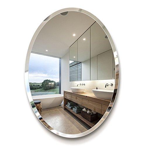 Mirror Espejo de baño - Espejo Ovalado de baño de Estilo Europeo/Espejo de Pared de tocador de baño/Espejo de Maquillaje Simple/Lado Oblicuo de Espejo de Alta definición de 5 mm (Tamaño : 60 * 80cm)