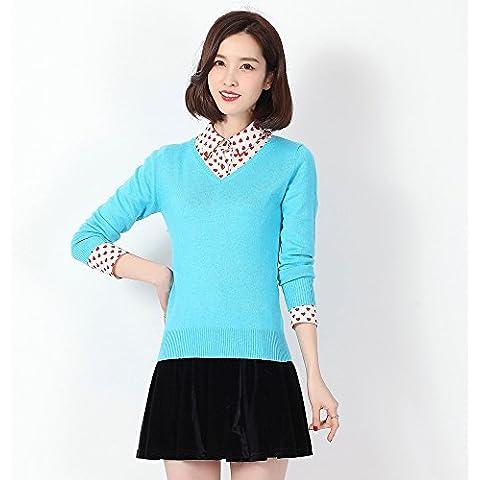 WZH camisetas de punto de mujer slim cuello v cachemira suéter , days blue , xxl