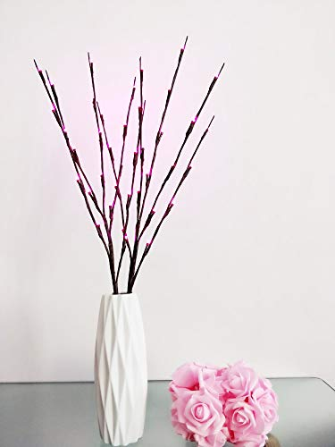 Fantasee LED-Lichterkette mit Zweigen, 76 cm, flexibel, für Zuhause, Geschäft, Fenster, Vasen, Tisch, Zimmer, 3 Stück rose