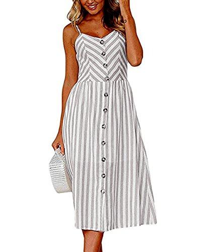 Yieune Sommerkleider Damen Casual Cocktailkleid Ärmellos Blumenmuster Kurzarm Strandkleid Party Abendkleid (Grau Streifen 3XL) -