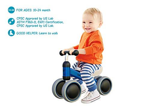 Mingzheng Baby Laufrad Kinder Spielzeug ab 1 Jahr Tüv Geprüft Kleinkind Dreiräder Erst Fahrrad für 10-24 Monate Blau